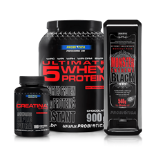 Combo 4 (Monster Extreme Black + Creatina + Ultimate 5 Whey) - Probiotica