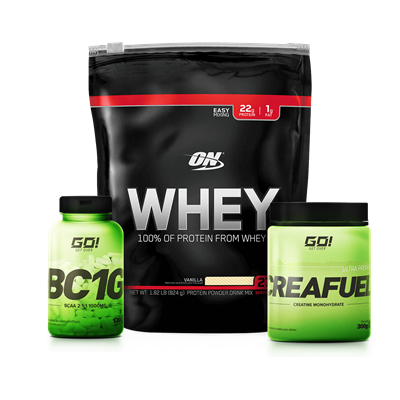 Combo 100% Whey Protein + BCAA + Creatina - Multimarcas