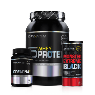 Combo 4 (Monster Extreme Black+Creatina+5 Whey) - Probiótica