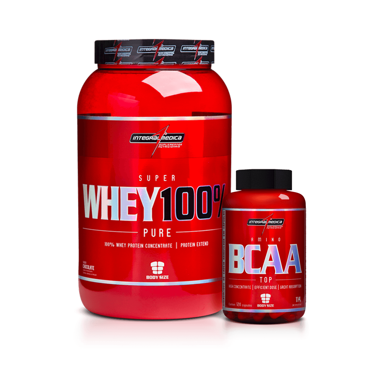 642b77159 Combo Super Whey + BCAA Top IntegralMedica - Loja do Suplemento